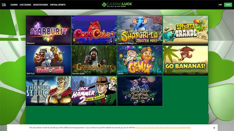 casino luck lobby screenshot