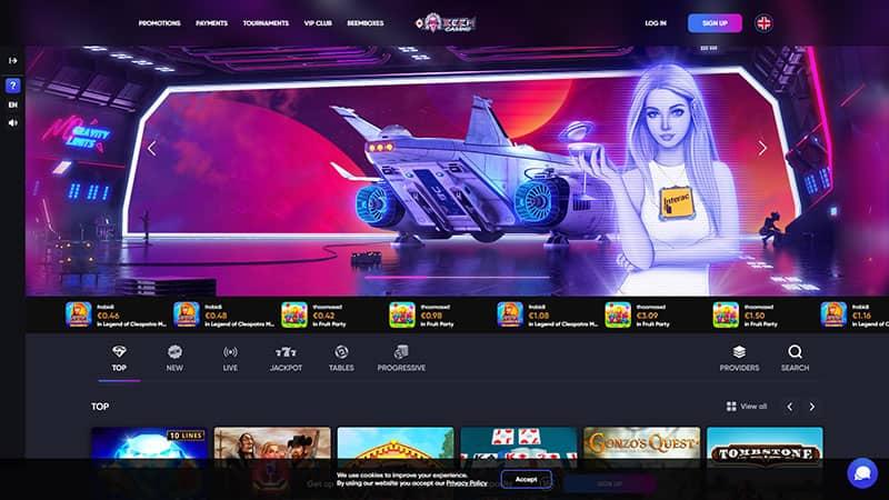 beem casino lobby screenshot