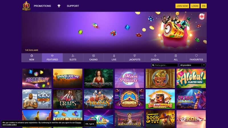 kingjcasino lobby screenshot