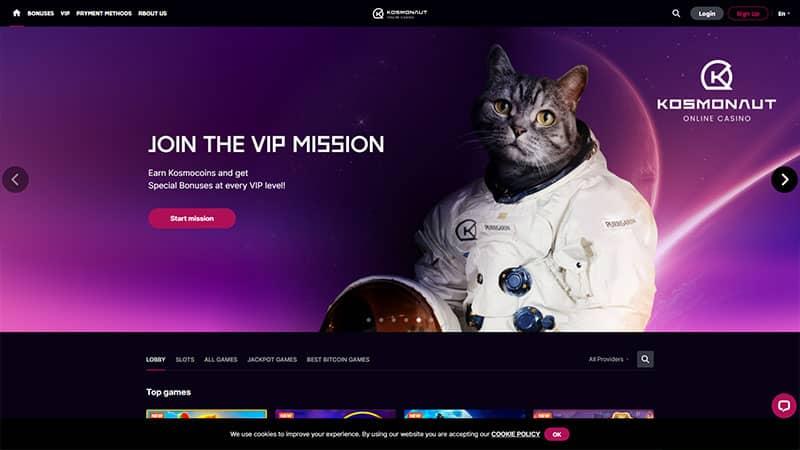 kosmonautcasino lobby screenshot