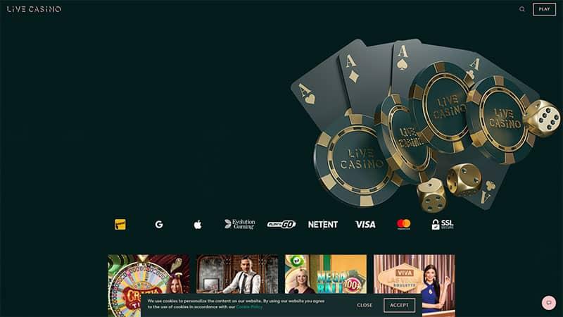 live casino lobby screenshot