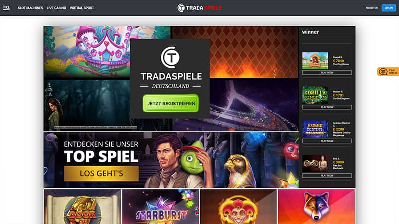 tradaspiele lobby screenshot