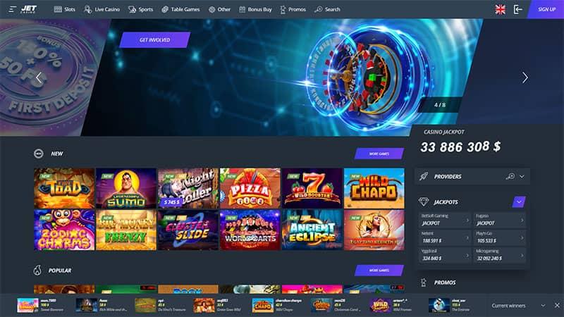 jet casino lobby screenshot