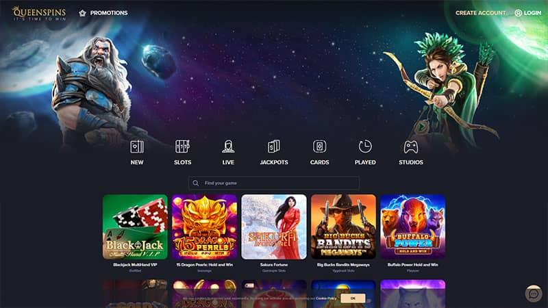 queenspins lobby screenshot