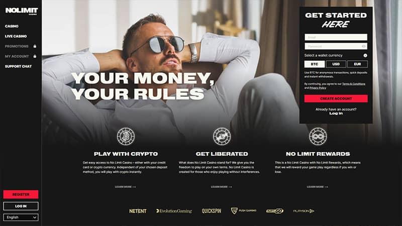 no limit casino lobby screenshot