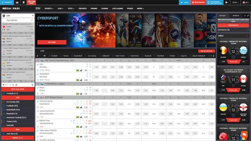 megapari lobby screenshot