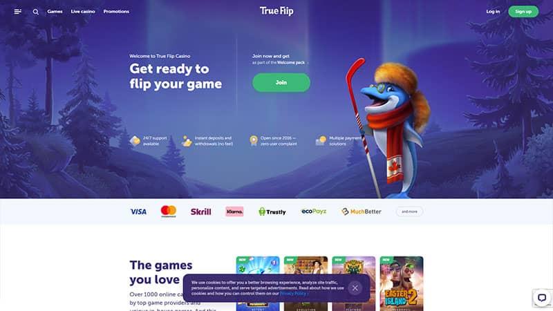 trueflip casino lobby screenshot