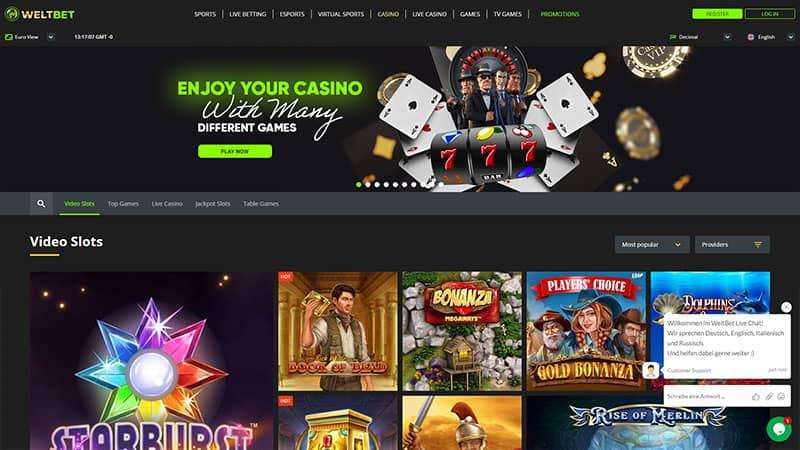 weltbet lobby screenshot
