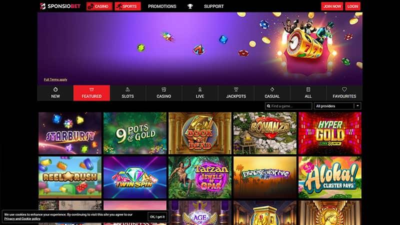 sponsiobet lobby screenshot