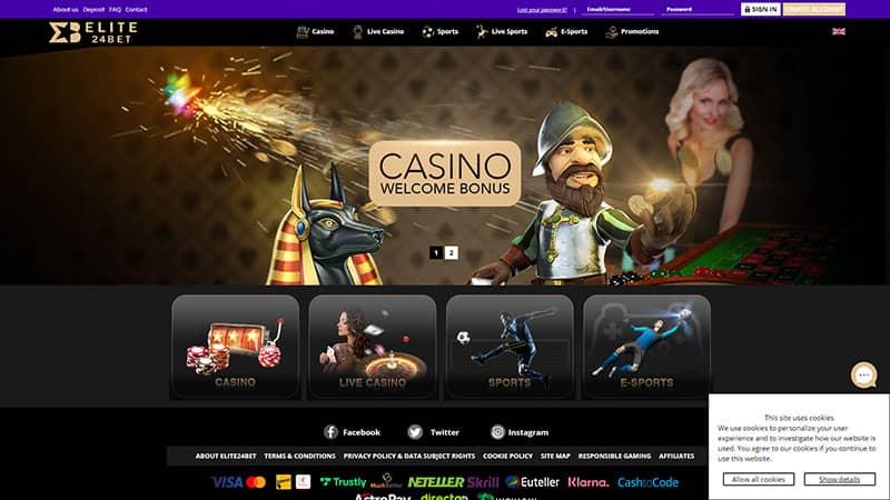 elite24bet lobby screenshot