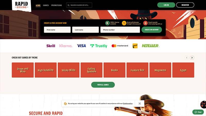 rapid casino lobby screenshot